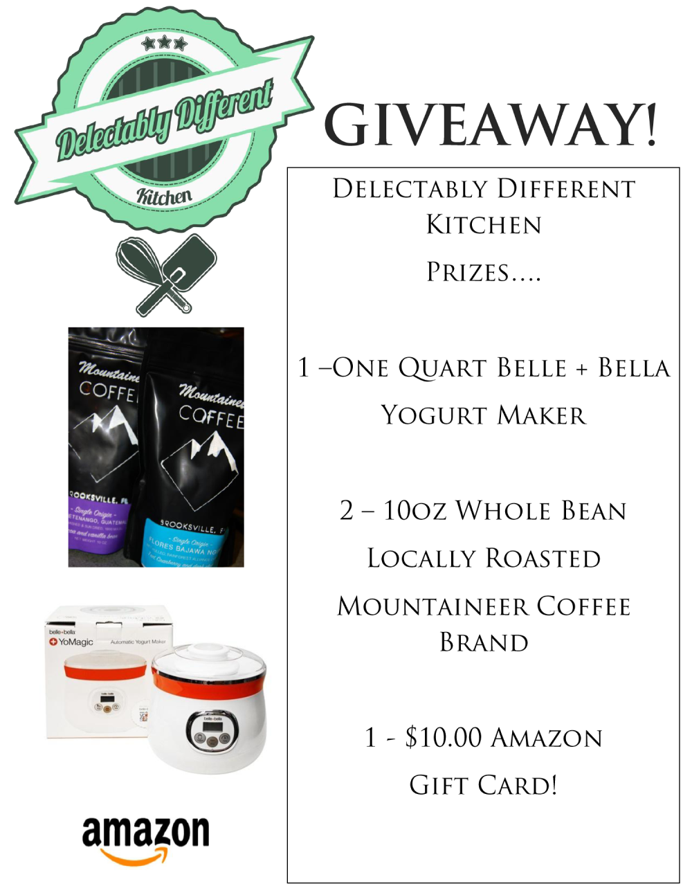 march giveaway from delectably different kitchen belle + bella amazon mountaineer coffee free