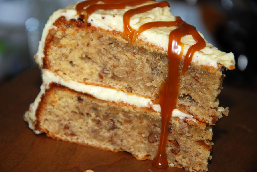 salted caramel butter pecan cake inspired by ice cream flavors from delectably different kitchen