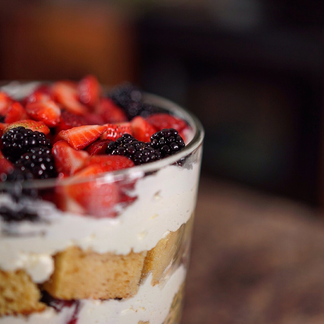 gluten free Mother's Day dessert berries and cream trifle summer treat